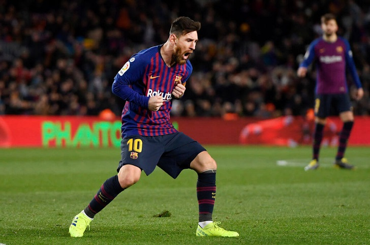 Lionel Messi in action for FC Barcelona.