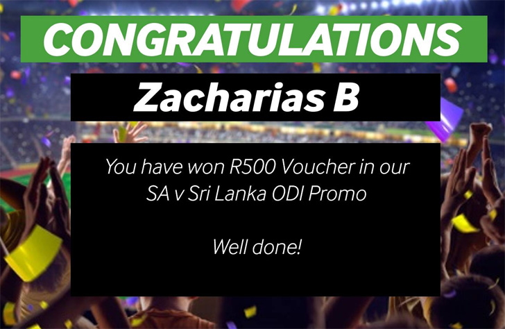 Zacharias B has won a R500 voucher